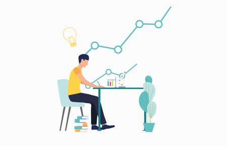 Student studying chemistry at desk. University, graduation, information concept. Vector illustration can be used for topics like literature, knowledge, education