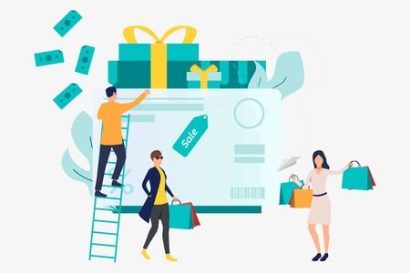 Female shoppers at credit card with gift boxes vector illustration. Purchase, sale, cashless payment. Shopping concept. Creative design for website templates, posters, banners