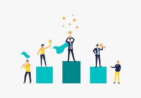 Carrer success vector illustration. People standing on podium, people supporting them. Business result concept.Vector illustration can be used for topics like competition, achievement, success Illusztráció