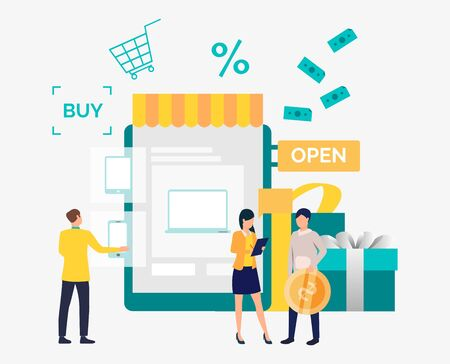 People buying gadgets in online shop. Purchase, shop, marketing, sale concept. Vector illustration can be used for topics like business, shopping, marketing