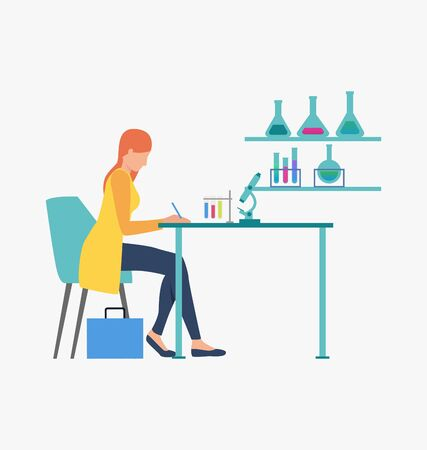 Scientist working with test tubes. Science laboratory, clinical lab, experiments. Research concept. Vector illustration for webpage, landing page 向量圖像