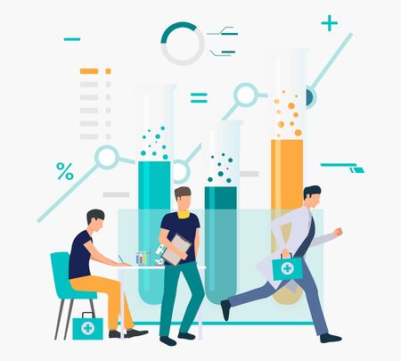 Doctors working in laboratory and running for call vector illustration. Hospital, clinic, healthcare. Medicine concept. Creative design for layouts, web pages, banners