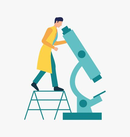 Scientist working with microscope. Science laboratory, clinical lab, experiments. Research concept. Vector illustration for webpage, landing page