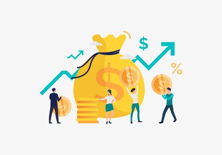 Financial growth illustration. People increase money capital and profit. Business result concept. Vector illustration can be used for topics like presentation, business, competition
