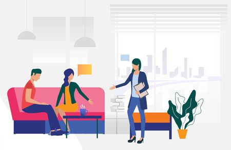 Couple sitting in family psychologist office vector illustration. Mental therapy, psychotherapist, counseling. Family therapy. Can be used for webpages, slides and leaflets