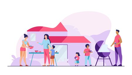 Family on BBQ party on backyard flat vector illustration. Happy characters cooking, chatting and eating together outside near house. Kids playing in garden. Barbecue and outdoor activity concept