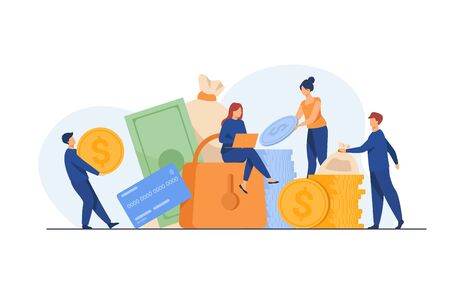 People protecting their cash. Men and women taking out financial insurance, defending money, business, bank account. Vector illustration for finance, safety, assurance, guarantee concept