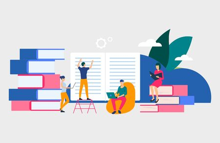 Group of people creating books. Authors, brainstorming, printing house, library. Business concept. Vector illustration for poster, presentation, new project