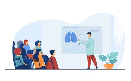 Medical college professor teaching students. Doctor presenting human lungs infographics to audience at conference. Vector illustration for seminar, lecture, healthcare meeting concept 向量圖像