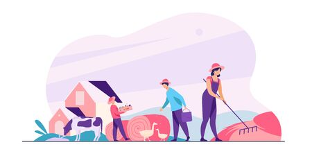 Group of people working on farm. Agricultural workers gathering hay and harvest, feeding poultry. Vector illustration for agriculture, cattle, countryside, job concept