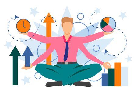 Businessman character showing different business indicators. Result, progress, time. Can be used for topics like management, multitasking, presentation Vektorgrafik