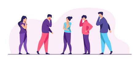 Group of sick people suffering from flu symptoms. Men and women feeling headache, sneezing, applying handkerchief to noses. Vector illustration for healthcare, sickness, infection concept 向量圖像