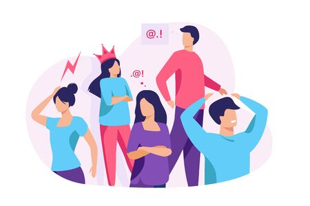 Group of people with problem behavior. Arrogant, angry, bored, selfish, proud man and woman failing in communication. Vector illustration for society, social skills concept