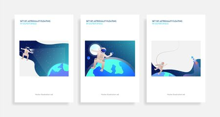 Set of astronaut floating in outer space. Flat vector illustrations of planets, rockets, taking selfie. Cosmos, exploration concept for banner, website design or landing web page