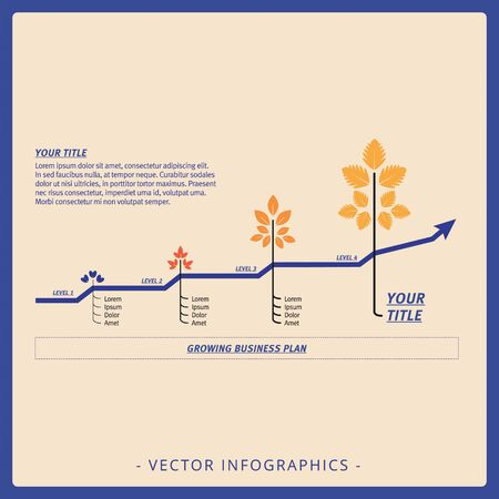 Editable infographic template of line chart with four levels, title and sample text, multicolored version