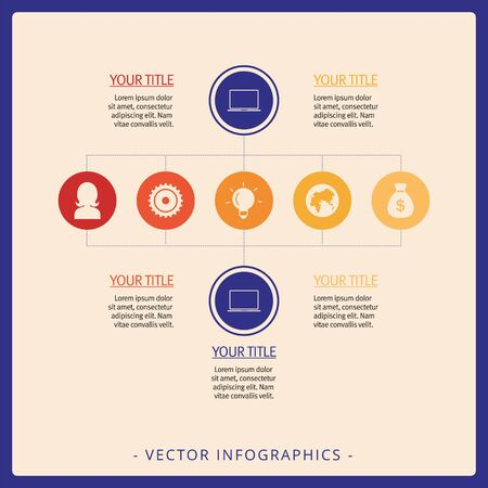 Editable infographic template representing process chart with icons, titles and sample text, multicolored version
