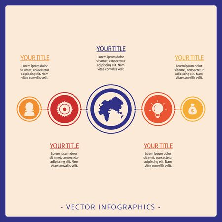 Editable infographic template of simple process chart with icons, titles and sample text, multicolored version