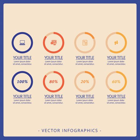 Editable infographic template of eight doughnut charts with icons and percent marks, multicolored version Zdjęcie Seryjne
