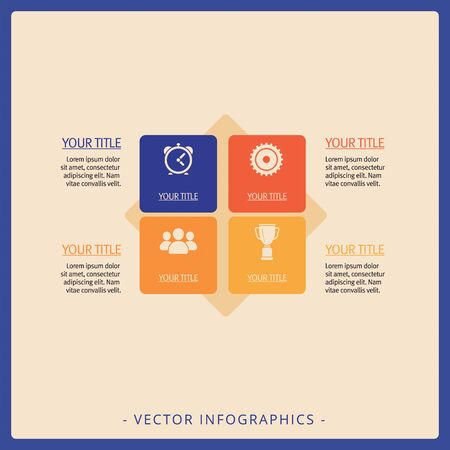 Editable infographic template of diagram with four square blocks, icons, titles and sample text, multicolored version Imagens