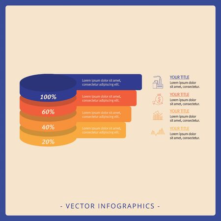 Editable infographic template of stacked pyramid chart with four levels, multicolored version Фото со стока