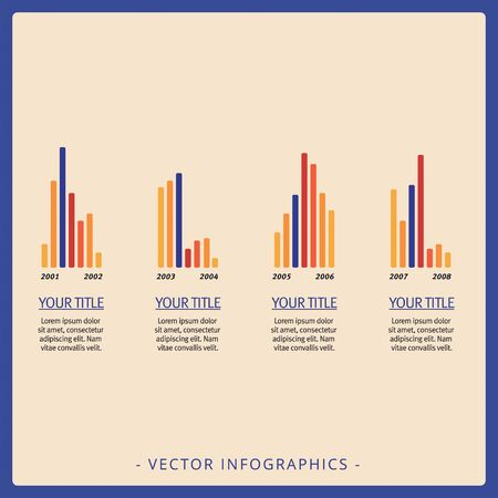 Editable template of large group representing vertical bar charts with titles and sample text, multicolored version Фото со стока