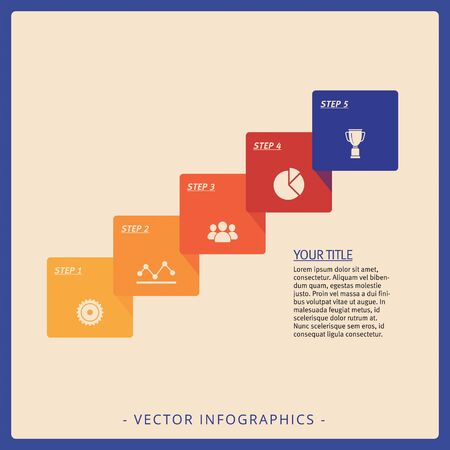 Editable infographic template of five step process diagram with icons, title and sample text, multicolored version Фото со стока
