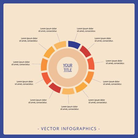 Editable template of circle diagram with title and sample text, multicolored version