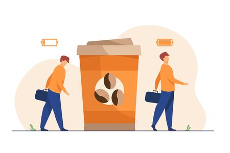 Man getting energy from cup of coffee. Caffeine addicted guy with disposal cup. Vector illustration for morning, coffee break, addiction, energetic drink concept