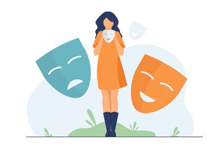 Person covering emotions, searching identity. Woman trying on carnival masks with happy or sad expressions. Vector illustration for psychology, mood changes, personality concept
