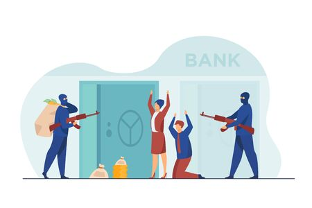 Gangsters with gun robbing bank. Criminals aiming riffle at workers, taking bags with money. Vector illustration for finance, security, robbery, burglars concept