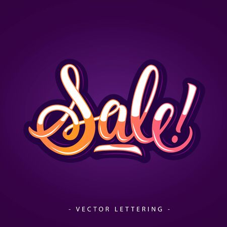 Colorful sale inscription with exclamation mark isolated on violet background