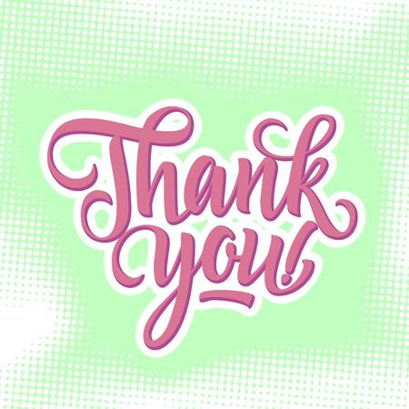 Thank you inscription with exclamation mark on light green background with dots