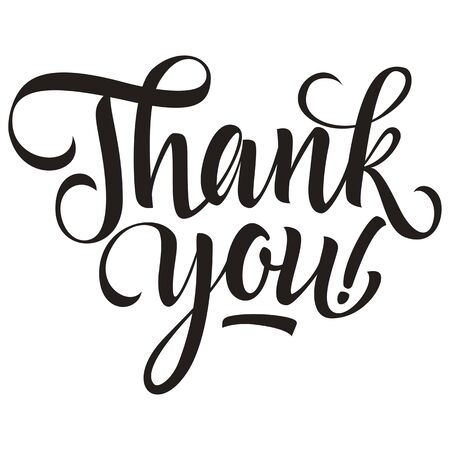 Thank you inscription with exclamation mark, monochrome version