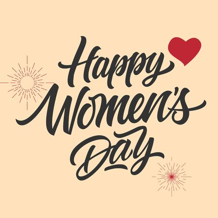 Happy women day inscription with red heart and sunburst shapes isolated on light pink background