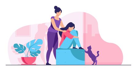 Woman giving comfort and support to friend, keeping palms on her shoulder. Girl feeling stress, loneliness, anxiety. Vector illustration for counseling, empathy, psychotherapy, friendship concept Illustration