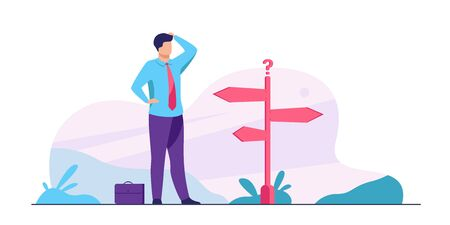 Pensive businessman making decision. Man in office suit standing at road direction signs. Vector illustration for opportunity, solution, idea concept Stockfoto - 144712565