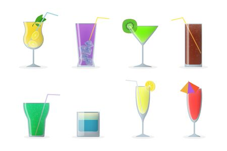 Cocktail glasses set. Colorful cold drinks with straws, vermouth, mojito, gin. Vector illustration for summer party, bar, alcoholic beverages concept Vectores