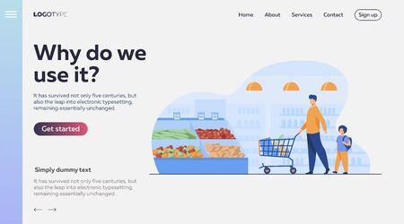 Father and son buying food in supermarket. Young man and boy wheeling shopping cart with food along aisles in grocery store. Vector illustration for market, retail, shoppers, customers concept
