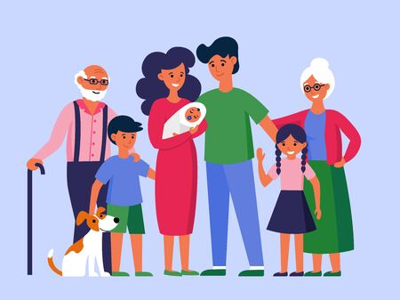 Happy huge family standing together flat vector illustration. Father, mother, grandmother, grandfather, children and dog posing for photo. Big family concept