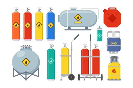 Gas balloons set. Cylinder with valves, tank, canister, oxygen, container. Vector illustration for fuel, industrial equipment, transportation, danger concept
