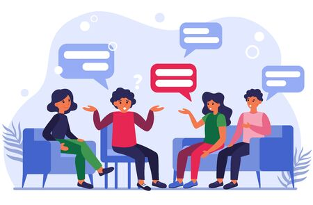 Group therapy flat vector illustration. Men and women in psychologist session talking about problems. Medical support and addiction and psychotherapy concept Illustration