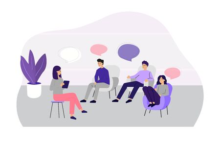 Doctor counseling people at group therapy flat vector illustration. Men and women in psychologist session talking about problems. Medical support and addiction and psychotherapy concept Illustration