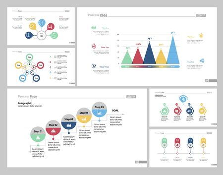 Infographic design set can be used for workflow layout, diagram, report, presentation, web design. Business and planning concept with flow, cycle, step, bar, percentage and process charts.