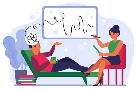 Female psychiatrist counseling patient flat vector illustration. Mental disorder and depression treatment. Psychologist service, psychoanalysis and psychotherapy concept