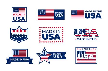 Made in USA badges set. American patriotic logos, stamps and seals with national flags. Vector illustration for America, business, manufacture concept 写真素材