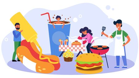 Happy people cooking sweet and fast food. Bakery, cheeseburger, soda flat vector illustration. Unhealthy diet, snack, cafe, restaurant concept for banner, website design or landing web page