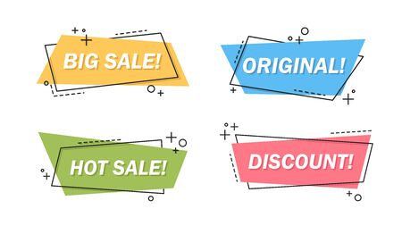 Sale letterings set. Colorful irregular shapes with big sale, discount text, labels or stickers design. Vector illustration for helpful special offer, promo campaign, clearance concept