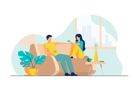 Romantic couple sitting at sofa, talking and drinking coffee flat vector illustration. Man and woman living together in apartment Romance and love concept. 写真素材