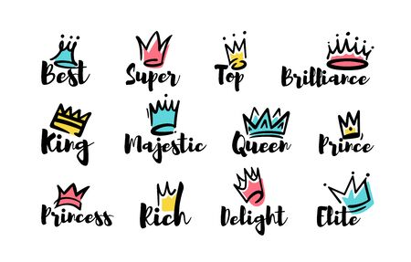 Crown doodles set. Hand drawn letterings, king, princess, queen text, top, best, majestic words. Vector illustration for luxury, royal power concept