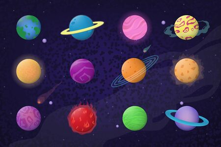 Space and planets set. Solar system, earth, Neptune, crater, orbit, moon, comet. Vector illustration for universe, science, galaxy, exploration, game concept